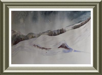 Aquarelle 2006 - Hiver à la montagne (Emile Wouters)