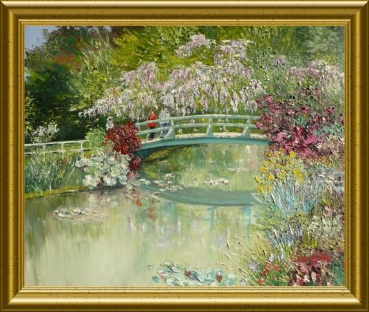 Huile - Le jardin de Monet (Emile Wouters)