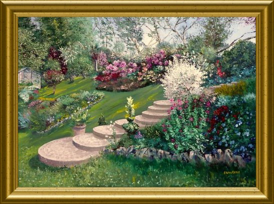 Huile - Le jardin de Monique (Emile Wouters)