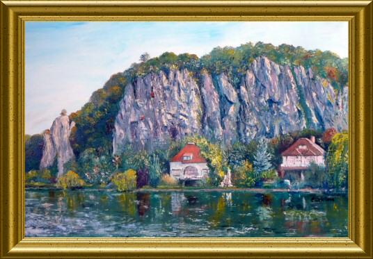 Huile - Les rochers du Néviau à Wépion (Emile Wouters)
